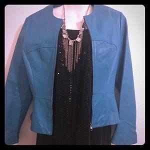 Leather aqua colored jacket